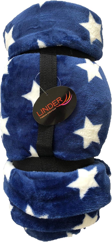 Linder Plaid /étoile 130cm x 180cm Tr/ès Confortable et Doux au Toucher id/éal cocooning Bleu Etoiles
