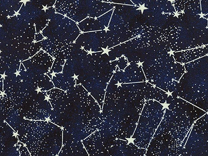 Fat Quarter Twinkling Star Solar System Space Cotton Quilting Fabric C4846