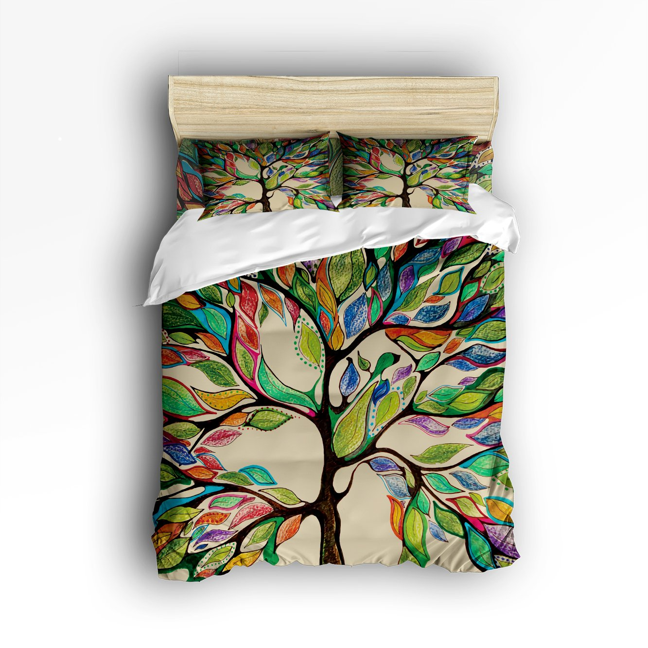 4Pieces Home Comforter Bedding Sets Duvet Cover Sets Bedspread for Adult Kids,Flat Sheet,Shams Set,Colorful Big Tree,Tree of Life Digital Printing King Size by LovingIn