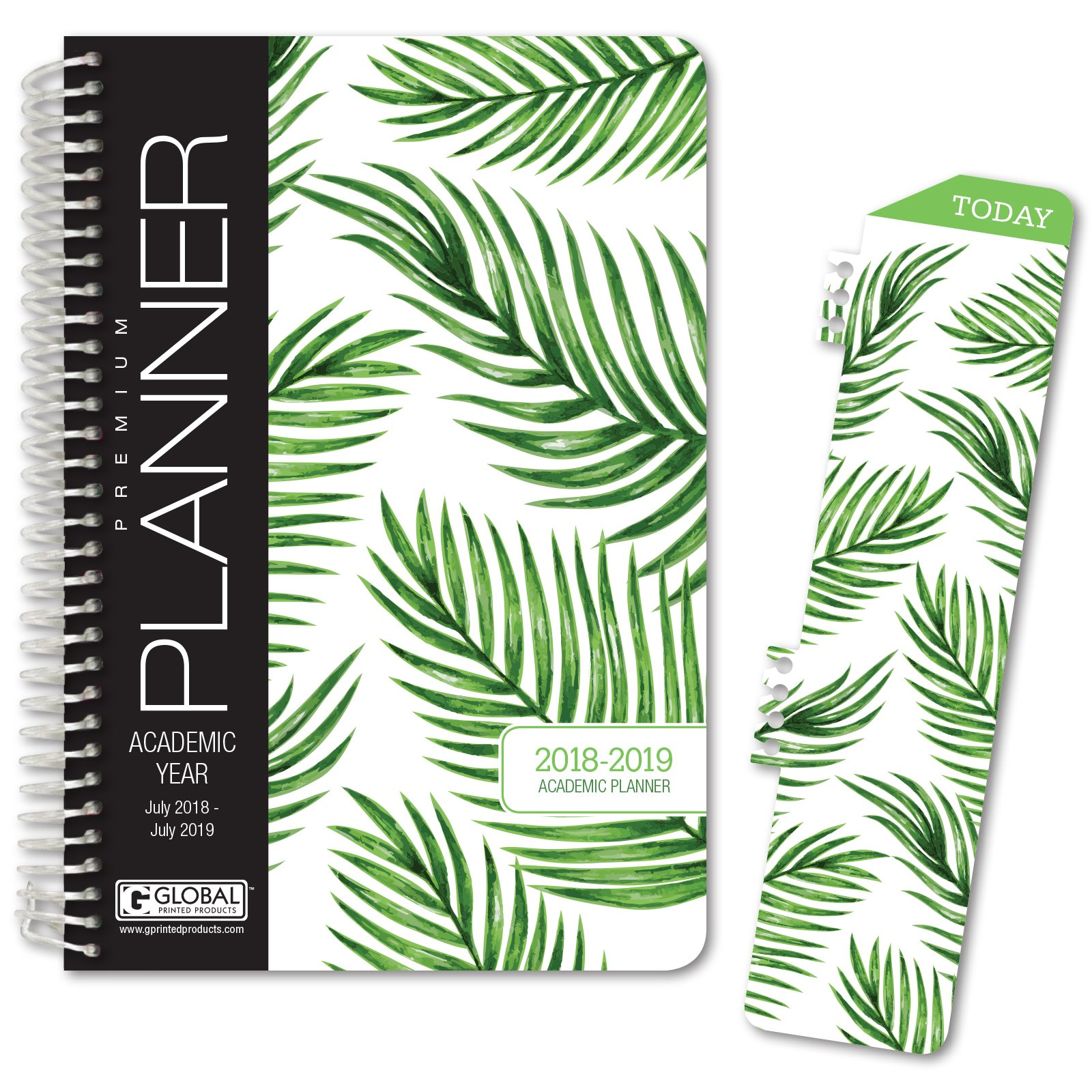 HARDCOVER Academic Year Planner 2018-2019 - 5.5''x8'' Daily Planner/Weekly Planner/Monthly Planner/Yearly Agenda. Bonus Bookmark (Palm Tree)