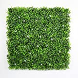 ULAND 20''x20''/pc Artificial Boxwood Hedge Panels with White Flower, UV proof, Garden Fence, Wall Indoor Outdoor Decoration, Privacy Screening (Pack of 6pcs)