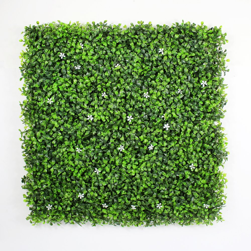 ULAND Artificial Boxwood Hedges Panels, Greenery Ivy Privacy Fence Screening, Home Garden Outdoor Wall Decoration, 20''X20'' per pc (6, Two Tone Green with White Flower)