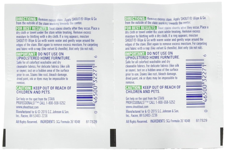Shout toallitas quitamanchas instantáneo Towelette (80 Count): Amazon.es: Hogar