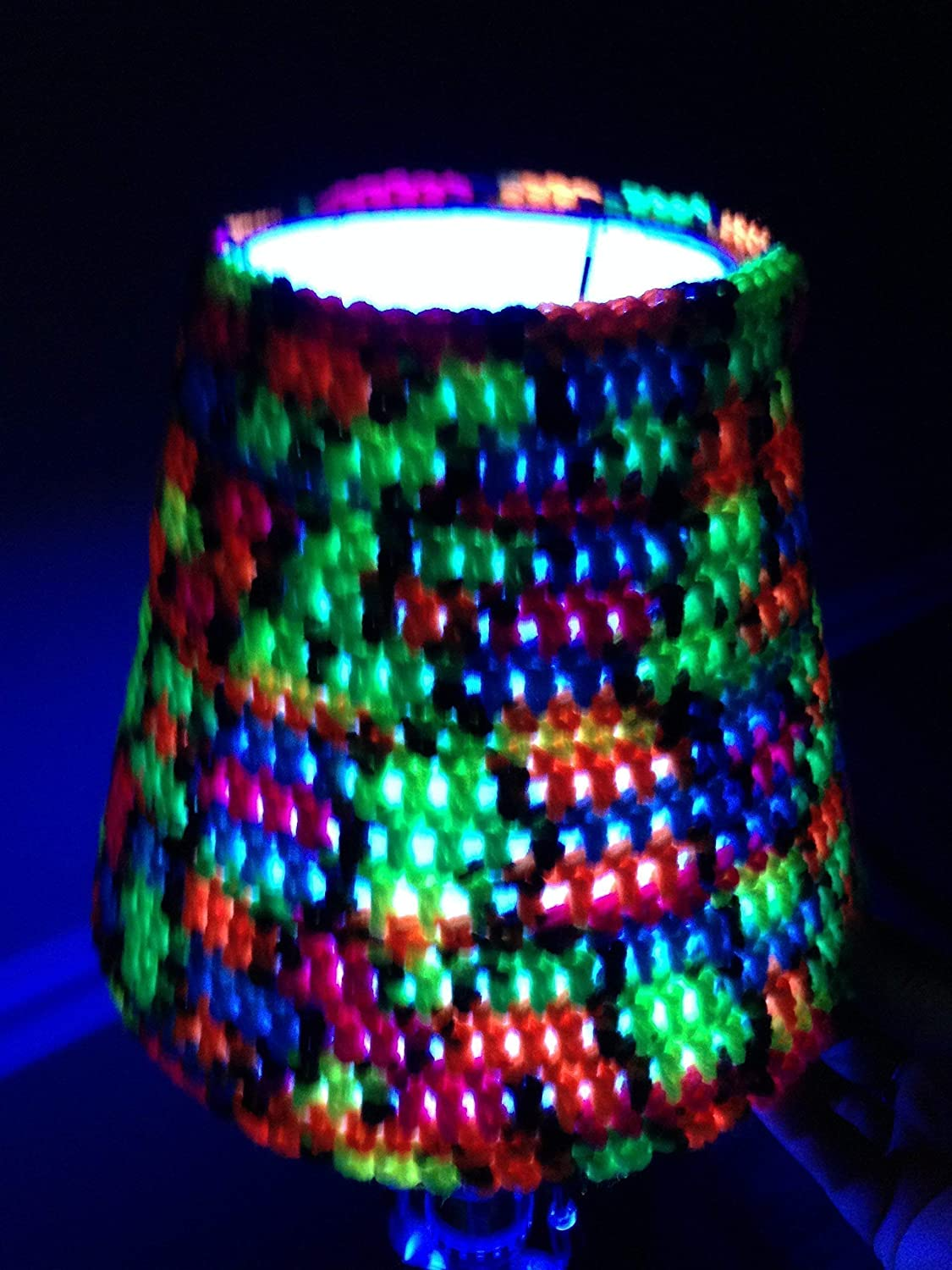 Lampshade Cover blacklight bulbs bedroom Halloween decorations parties  handmade crochet