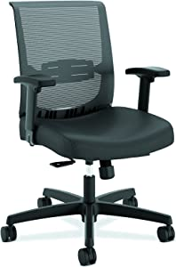 The HON Company Convergence Task Chair, Synchro-Titl with Seat Slide, Black Vinyl