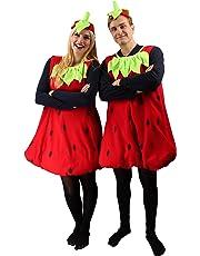 Erdbeer-Kostüm Rot & Grün für Erwachsene   Einheitsgröße   2-teiliges Obst Kostümierung für Karneval   Frucht-Verkleidung für Fasching   Süßes Früchtchen Karnevalskostüm für Fastnacht & Mottopartys