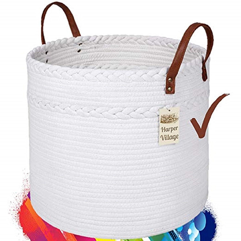 Cotton Rope Basket White 15×17 Woven Baskets with Handles Round Laundry Basket, Clean Storage Baskets, Fun Toy Storage, Soft Blanket Basket