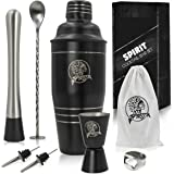 8-in-1 Bartender's Kit: 24 Oz Stainless Steel Cocktail Shaker with Full Home and Bar Beverage Preparation Set, Leak-Proof Cup, Muddler, Spoon, Jigger, Pourers, Opener, Martini Mojito Kit by Spirit