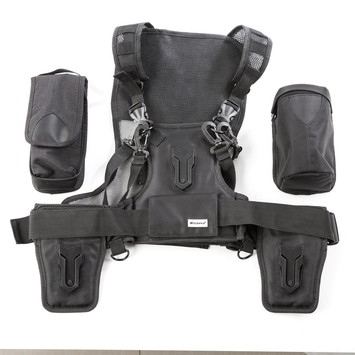 Micnova MQ-MSP07 Pro Triple Camera Carrying Chest Harness System Vest with Side Holster for Canon Nikon Sony DV DSLR Cameras Panasonic Olympus Camcorder