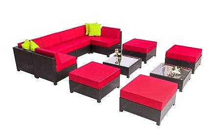 Amazon.com: mcombo 12 pieza Lujo Negro Muebles de patio para ...