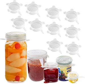 Silicone Stretch Lids 2.6 inch, 10 Pack Reusable Durable and Expandable Lids, Flexible Silicone Lids for Food Storage Container, Reusable Silicone Stretch Lids for Bowl, Cup, Pot, Food Covers