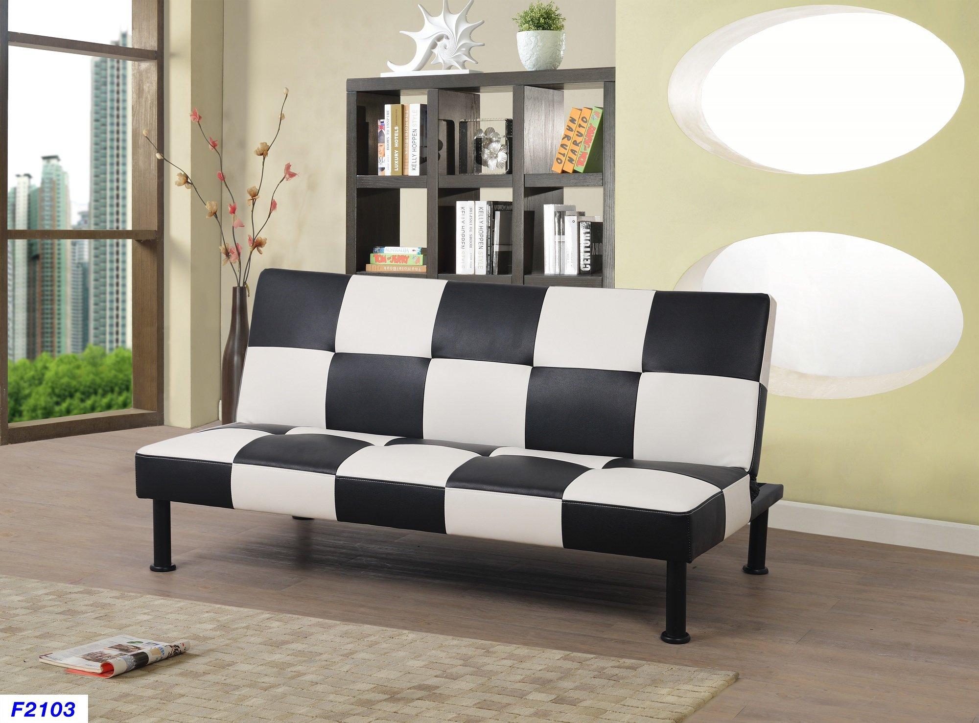 Beverly Fine Furniture F2103 Checkered Futon Sofa Bed, Black by Beverly Fine Furniture