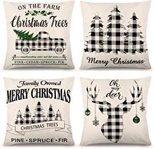 YGEOMER Christmas Pillow Covers Buffalo Check Plaid Throw Pillow Cover, 18 x 18 Inch Farmhouse Cushion Case for Sofa Couch Set of 4