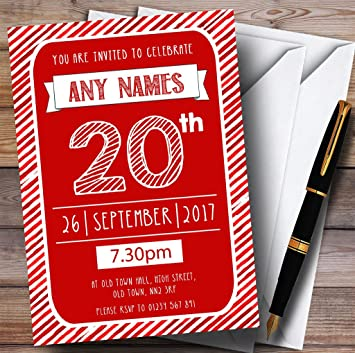 Pack Of Ten 20th Birthday Invitations