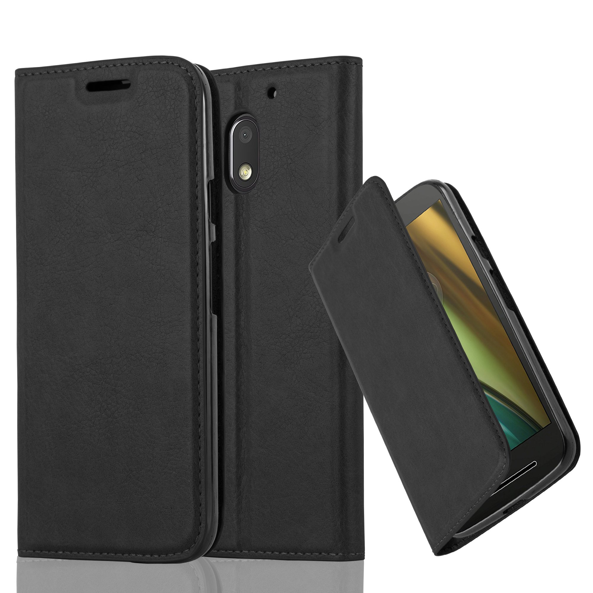 Cadorabo Case works with Lenovo (Motorola) MOTO E3 Book Case in NIGHT BLACK (Design INVISIBLE CLOSURE) – with Magnetic Closure, Stand Function and Card Slot – Wallet Case Etui Cover PU Leather