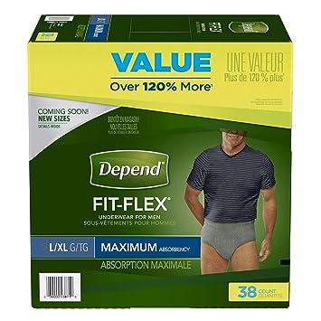 ce661ec27690e Depend FIT-FLEX Incontinence Underwear for Men, Maximum Absorbency, Large,  Gray (