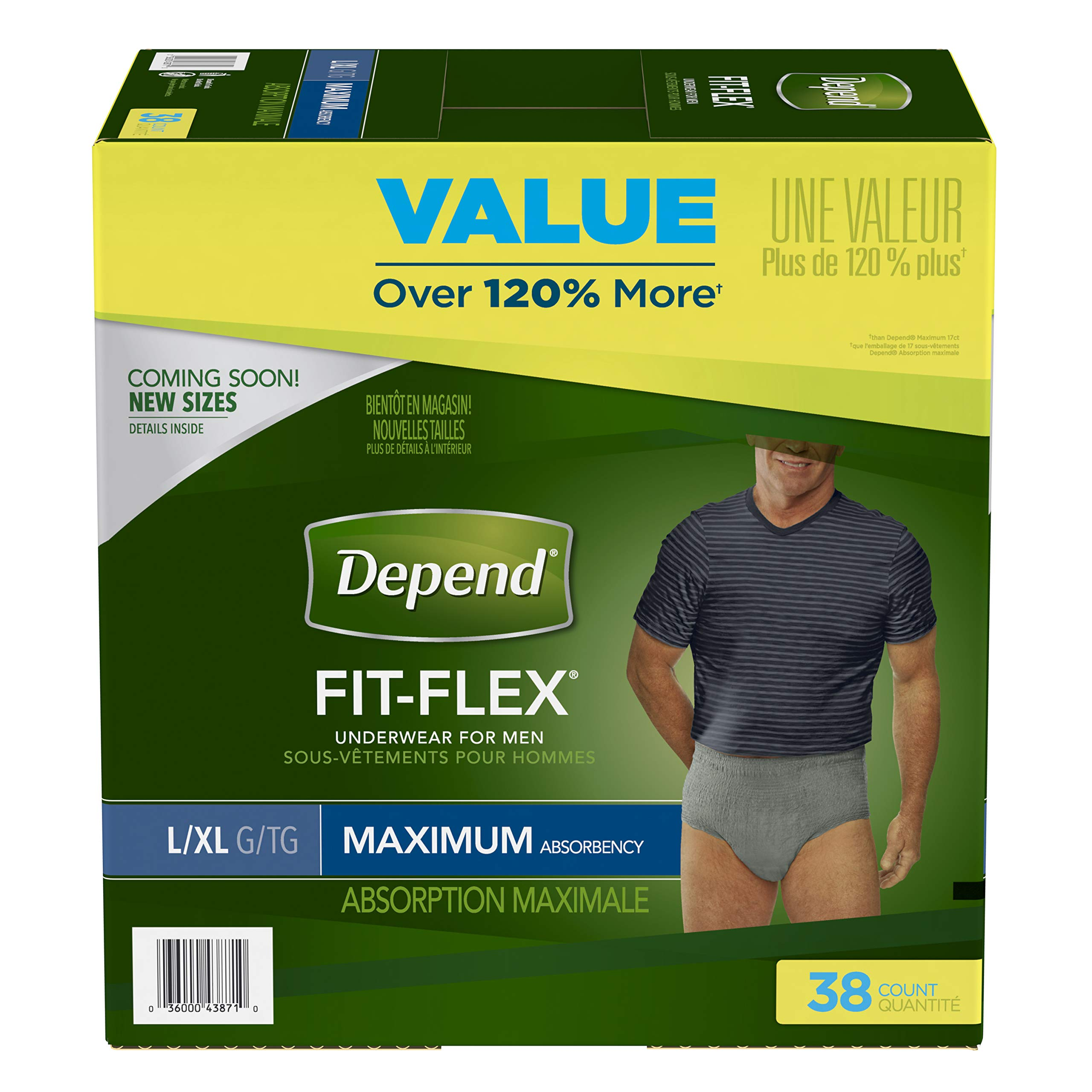 Depend FIT-FLEX Incontinence Underwear for Men, Maximum Absorbency, Large, Gray (Packaging may vary)