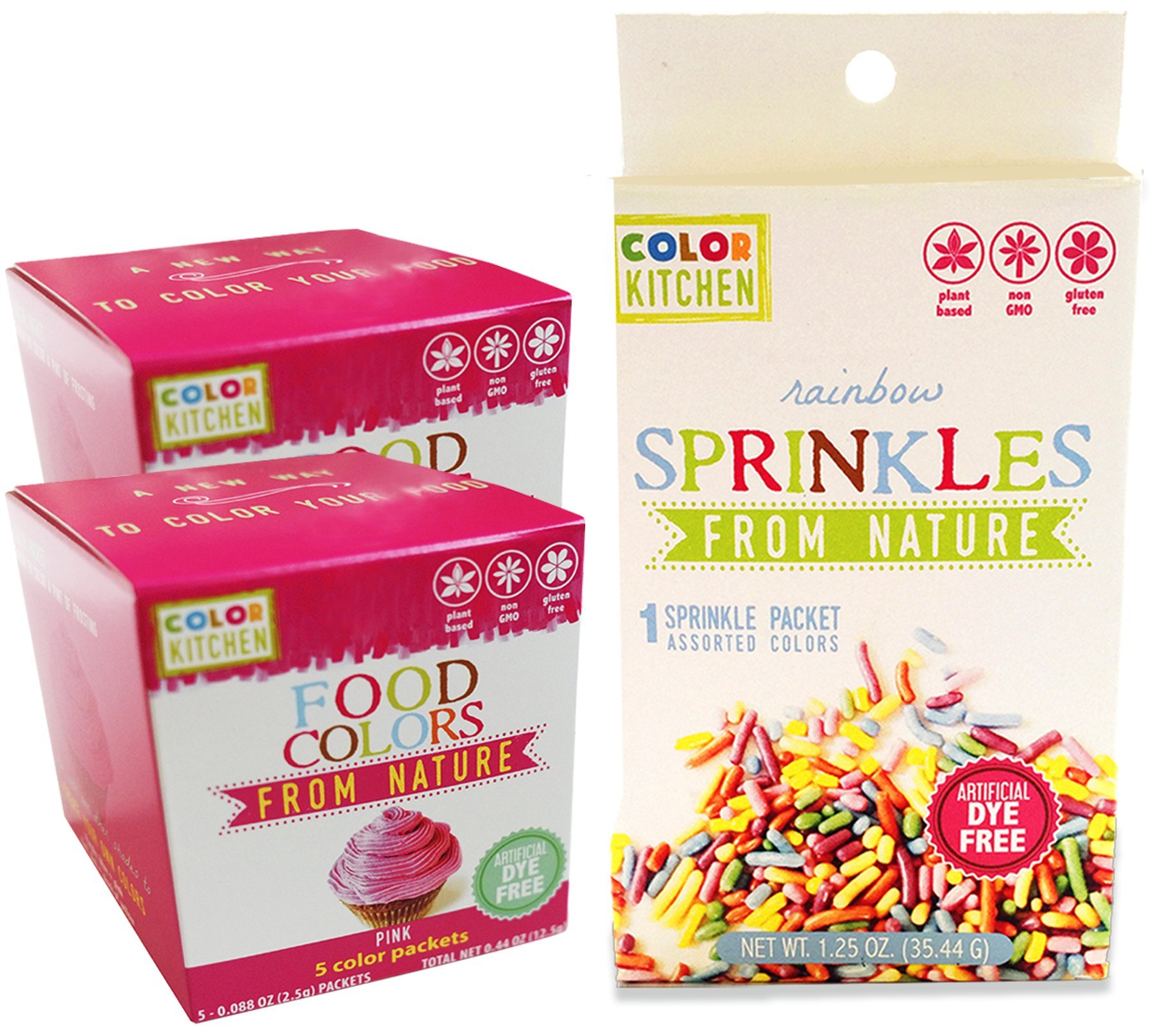 Food Coloring - ColorKitchen Two Pack Pink Bundle (5 Packs) - (2.5g Per Packet) - Natural - Vegan - Non-GMO - No Artificial Food Dyes - Highly Concentrated Powder Pigment - Includes Rainbow Sprinkles