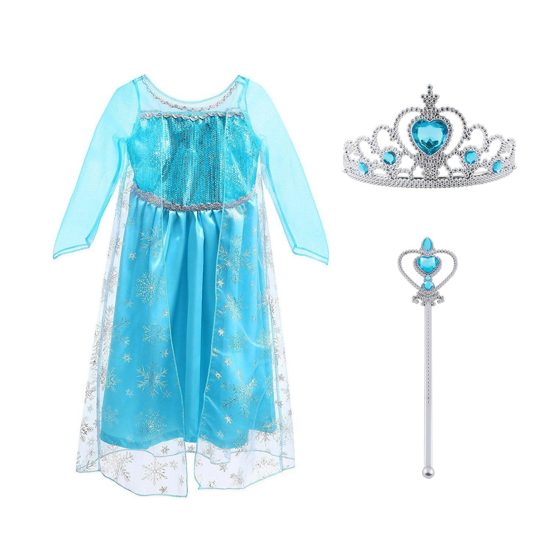 Vicloon Elsa Frozen Costume, Set da Principessa Elsa Corona Bacchetta Guanti Treccia,Ragazze Elsa Principessa delle Neve Abiti Partito Vestito Costume