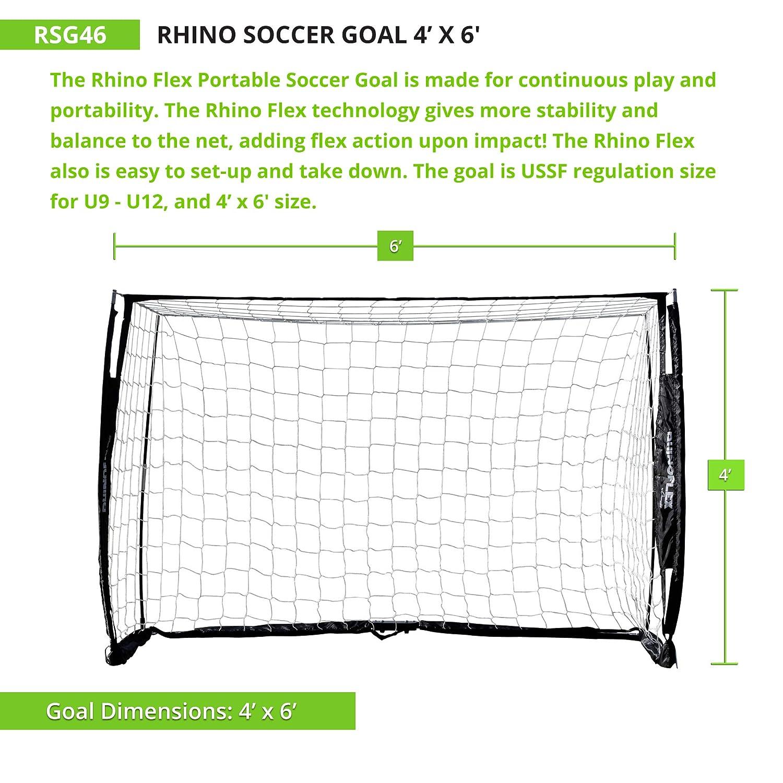 Champion Sports Portería de fútbol portátil  Red de portería de fútbol  Rhino Flex con red blanca 7f969486e556a