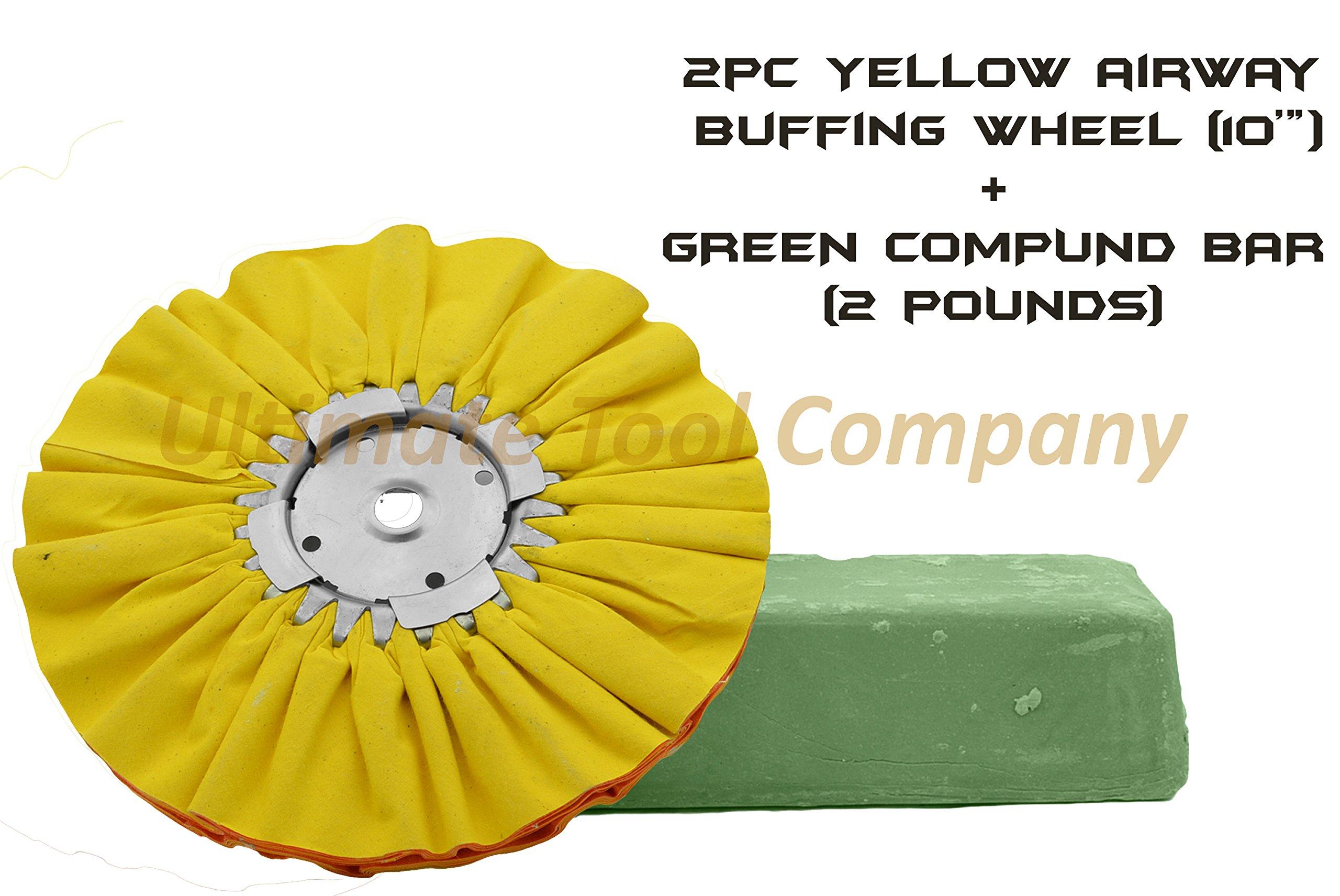2pc Yellow Airway Buffing Wheel 10'' & Green Polishing Compound 1-Step Shine