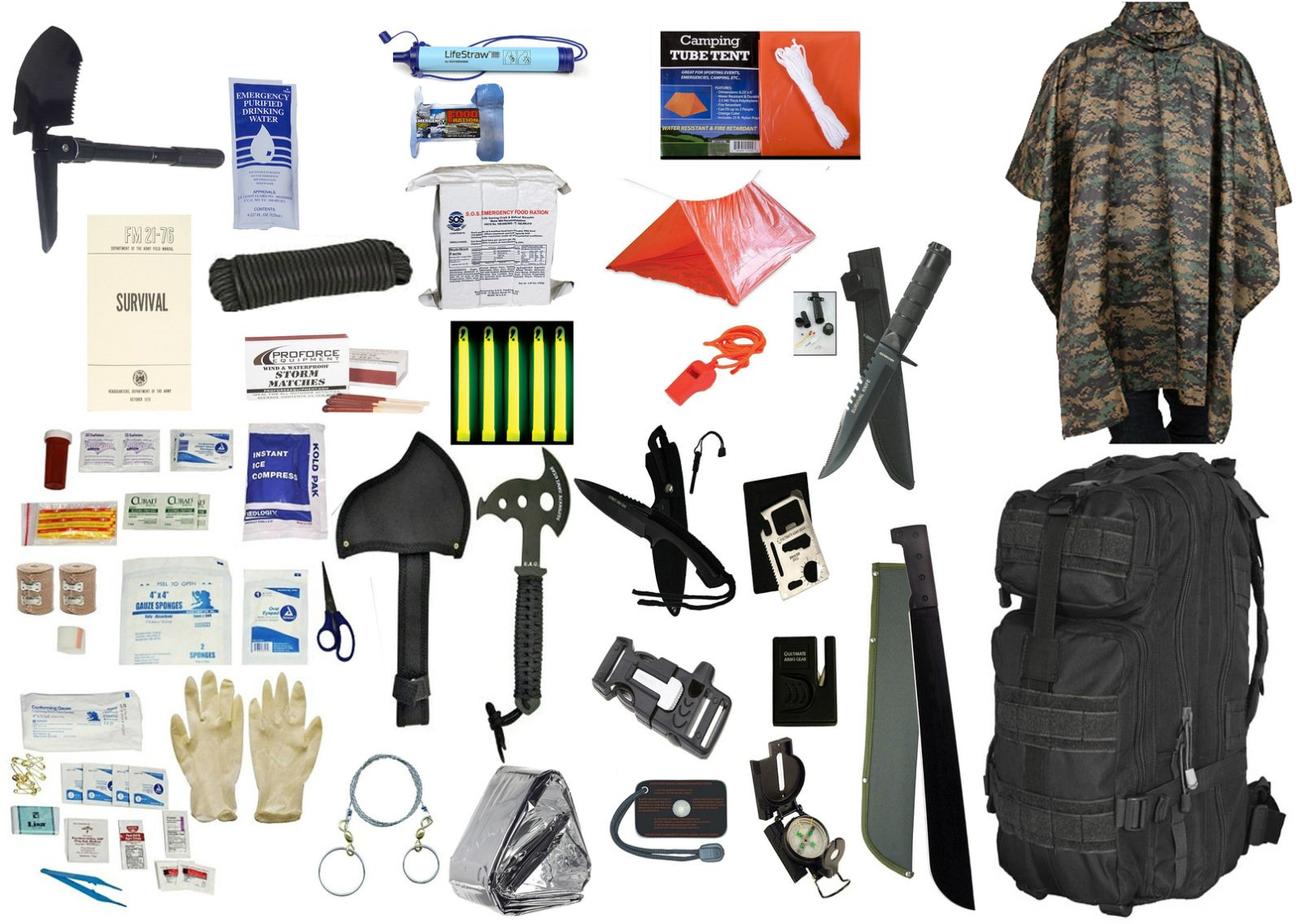 2 Person Supply 3 Day Emergency Bug Out S.O.S. Food Rations, Drinking Water, LifeStraw Personal Filter, First Aid Kit, Tent, Blanket, Backpack, Woodland Poncho + Essential 21 Piece Survival Gear Set