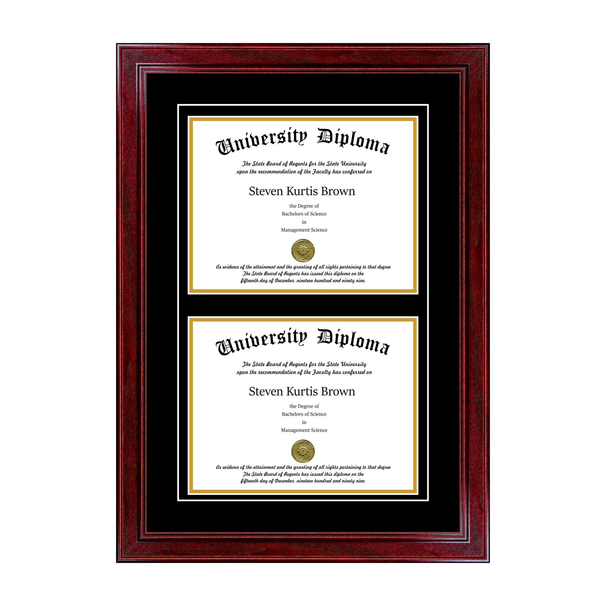 Double Diploma Frame with Double Matting for 10'' x 8'' Tall Diploma with Cherry 1.5'' Frame