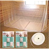 Fangram 蚊帳 6畳 大型 ビッグサイズ 粘着フック6個 ロープ20Mセット 虫除け 風除け ムカデ 対策 (白色)