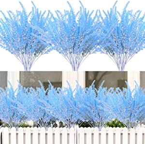 8PCS Artificial Flowers Outdoor UV Resistant Plants,8 Branches Faux Plastic Lavender Greenery Shrubs Plants Indoor Outside Hanging Planter Kitchen Home Wedding Office Garden Decor (Blue White)