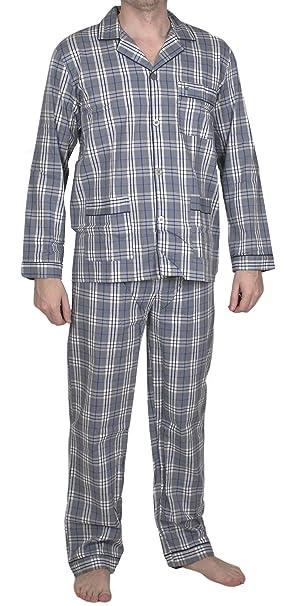 Moonline nightwear - Pijama - Cuadrados - Manga Larga - para hombre Grau/blau/weiß/schwarz Large: Amazon.es: Ropa y accesorios