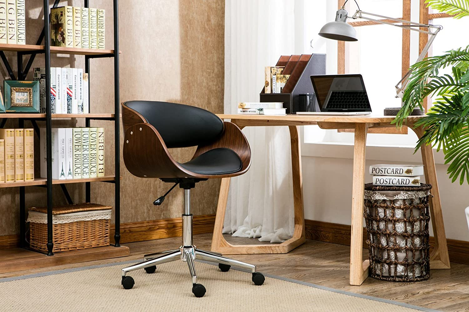 Porthos Home Monroe Mid Century Modern Chair With Curved Seat Back, Leather Upholstery, Adjustable Height, Stainless Steel Legs And 5 Castor Roller Wheels, One Size, Black