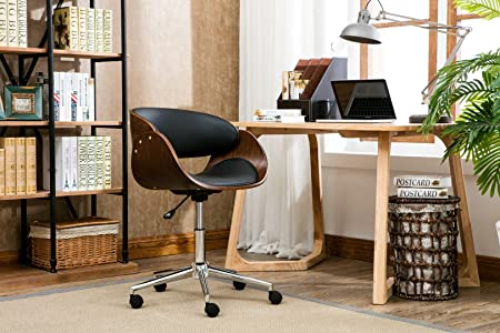 Porthos Home KCH002A BLK Monroe Mid Century Modern Chair with Curved Seat Back, Leather Upholstery, Adjustable Height, Stainless Steel Legs and 5 Castor Roller Wheels, One Size, Black