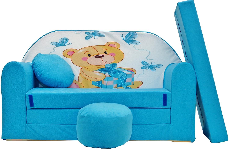 Aluxshop Spielsofa Kindersofa Minicouch aus Schaum Kindersessel Kissen Matratze Farbwahl A12/_AG