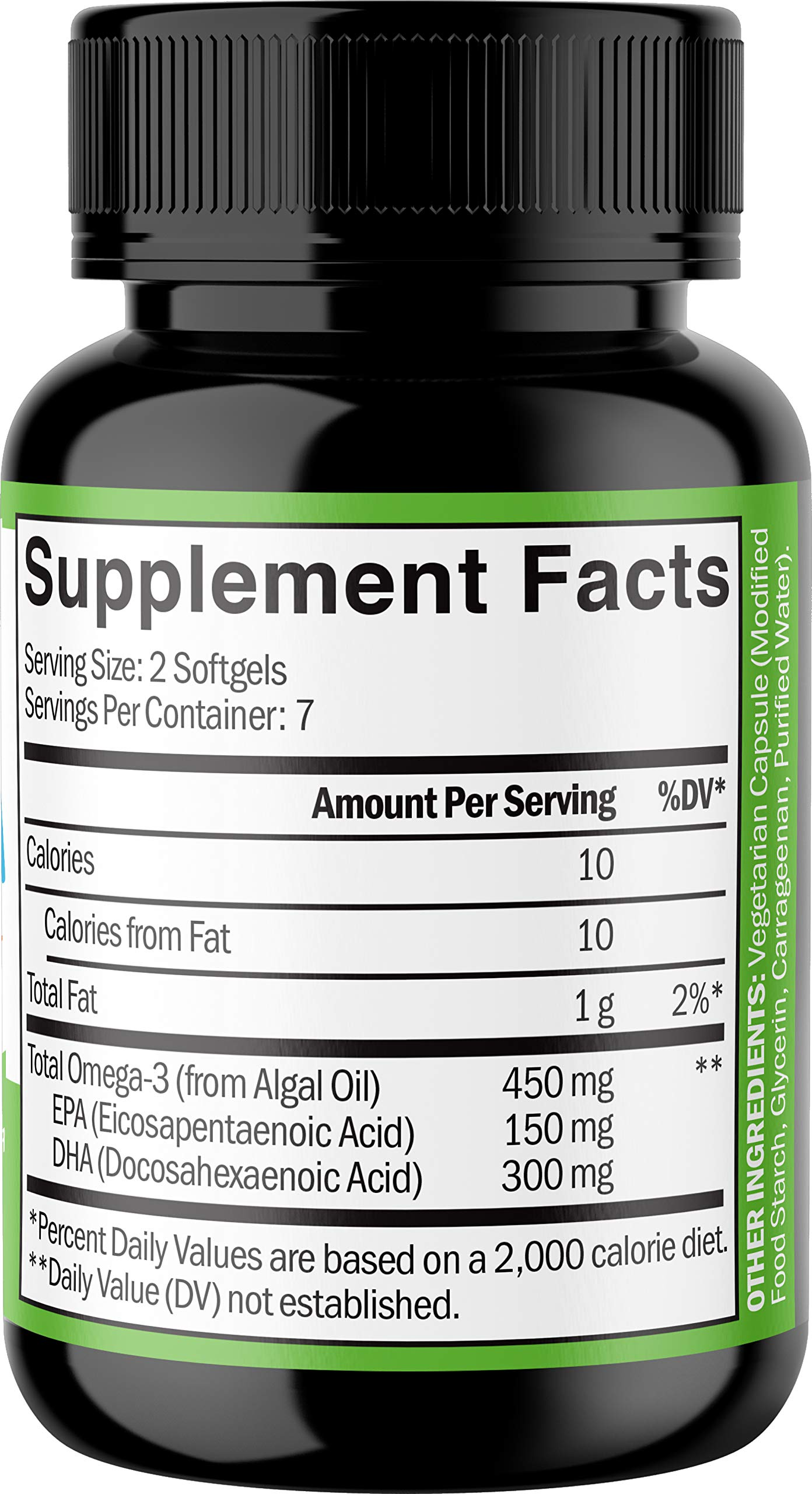 Vegan Omega 3 Supplement - Marine Algal Source of EPA & DHA Fatty Acids - for Joint Support & Immune System - Heart & Skin + Brain Health Booster - Fish Oil Free Formula for Men & Women - 14 Softgels by Zenwise Health (Image #2)