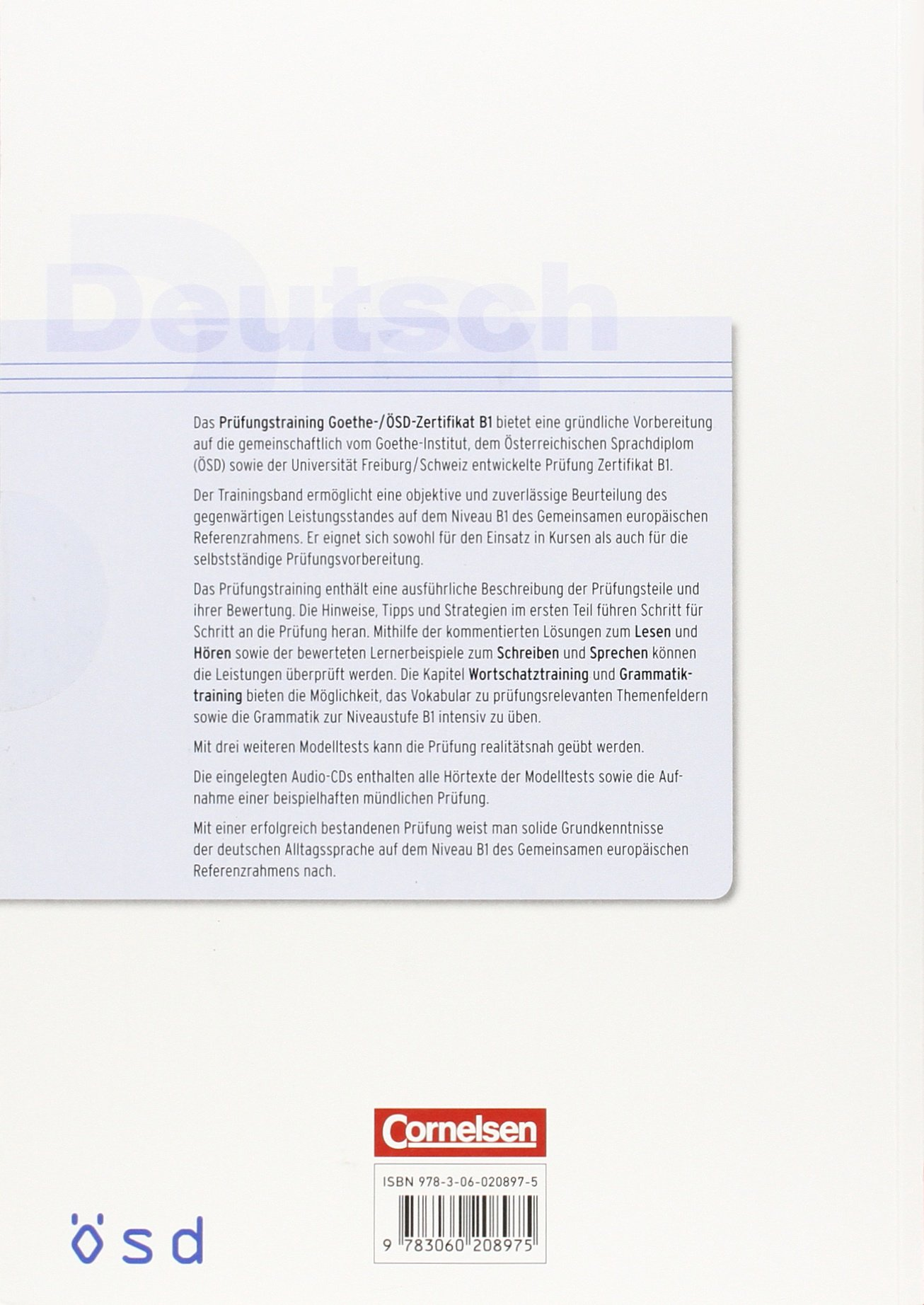 Prufungstraining Daf Goethe Osd Zertifikat B1 Mit Audio Cds 2
