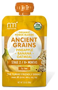 NurturMe Power Blends Organic Baby Food Pouch, Pineapple + Banana + Oatmeal, 3.5 Ounce (Pack of 12)