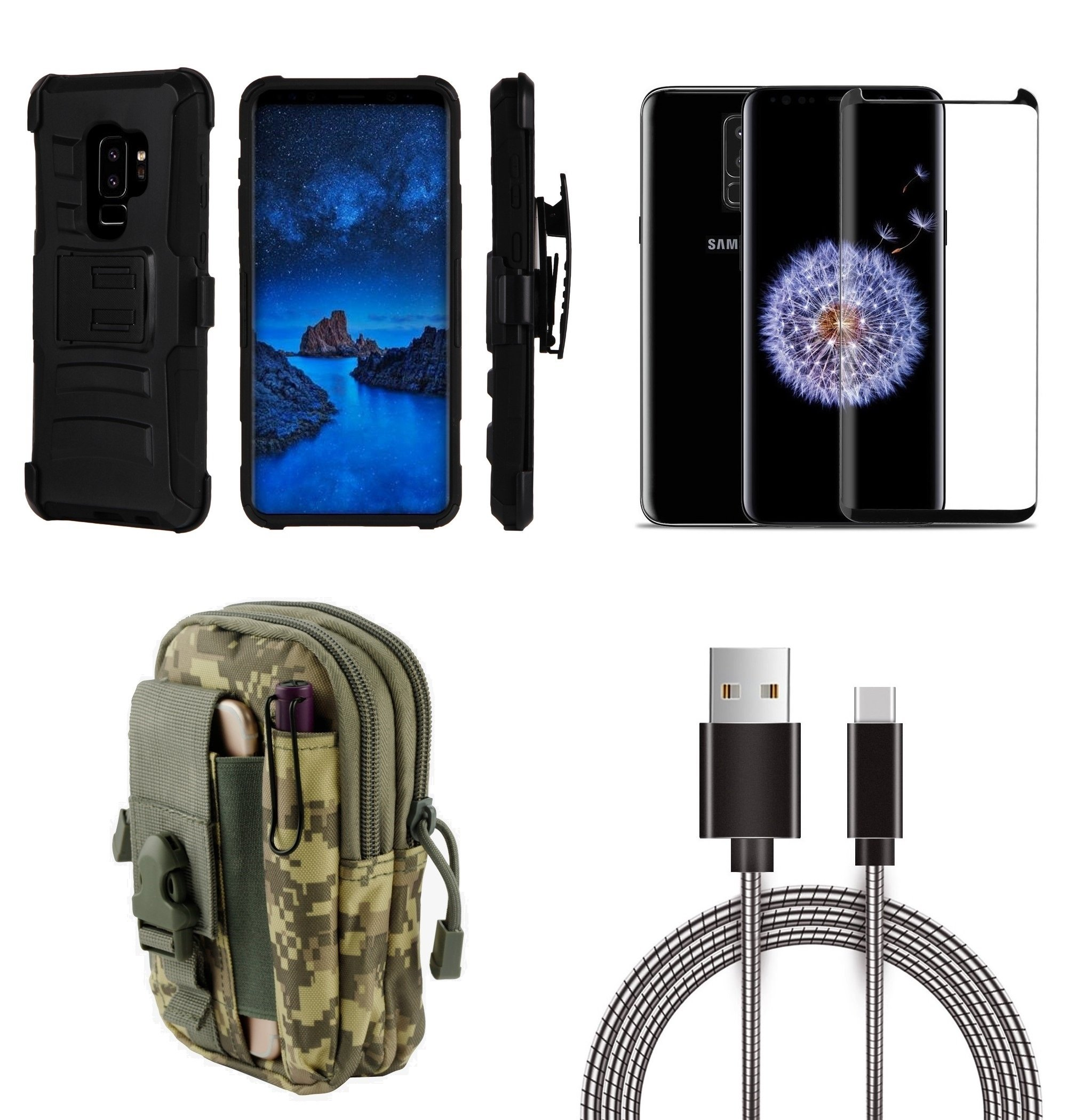 Samsung Galaxy S9+ Plus - Bundle: Dual Layer Armor Kickstand Belt Holster Case (Black), ACU Camo Tactical EDC MOLLE Utility Waist Pack Holder Pouch, Screen Protector, Metal USB Cable, Atom Cloth