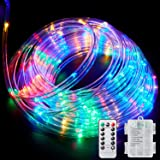 Ollivage LED Rope Lights Outdoor String Lights Battery Powered with Remote Control, 8 Modes Color Changing Waterproof LED Str