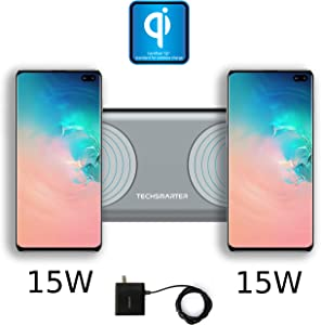 Techsmarter Dual 15W Fast Charging QI Wireless Charger Pad Station for Two Phones, Qi Certified. Compatible with Samsung S10, S9, S8, S7, Note 8/9, iPhone XR, X, XS, 8, Airpods, LG G6, G7, V30, V40