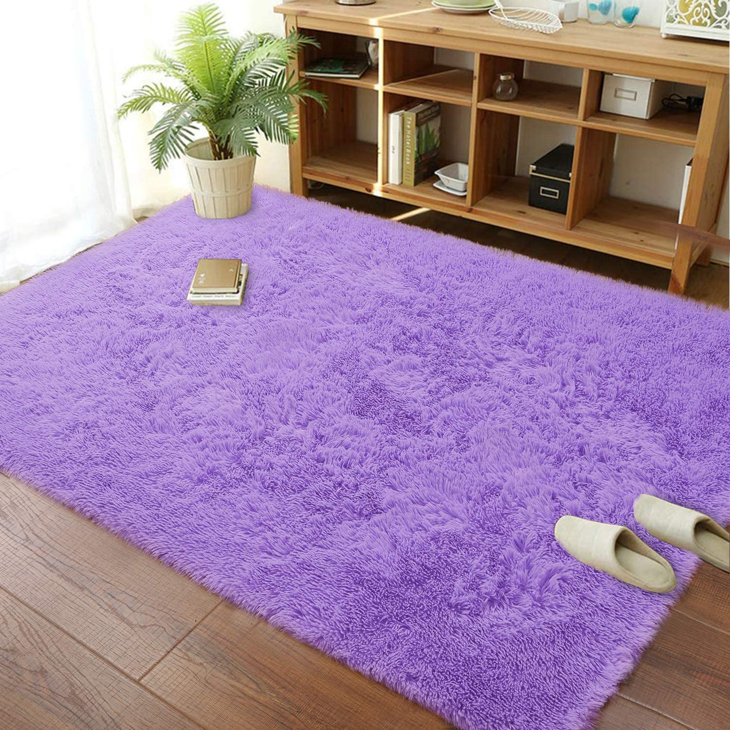 Soft Modern Indoor Large Shaggy Rug for Livingroom Bedroom Dorm Kids Room Home Decorative, Non-Slip Plush Fluffy Furry Fur Area Rugs Comfy Nursery Accent Floor Carpet 6x9 Feet, Purple