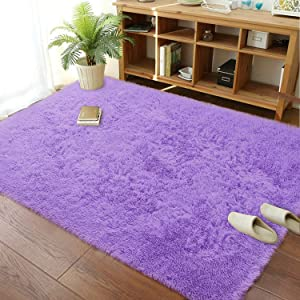 Soft Modern Indoor Large Shaggy Rug for Livingroom Bedroom Dorm Kids Room Home Decorative, Non-Slip Plush Fluffy Furry Fur Area Rugs Comfy Nursery Accent Floor Carpet 6x9 Feet, Purple