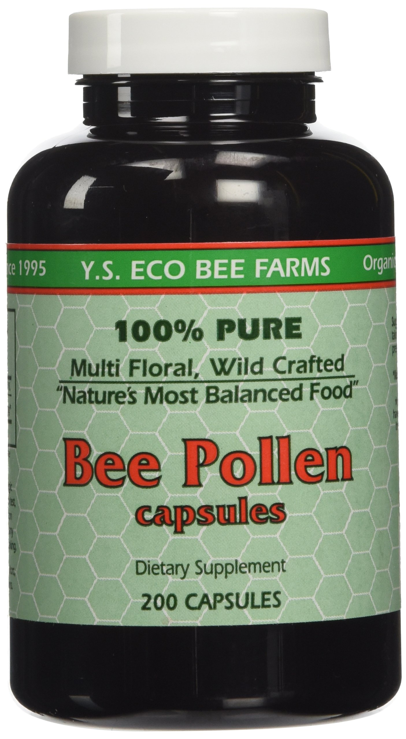 Y.S. ECO Bee Farms 100% Pure Bee Pollen 1,000mg- 200 Capsules
