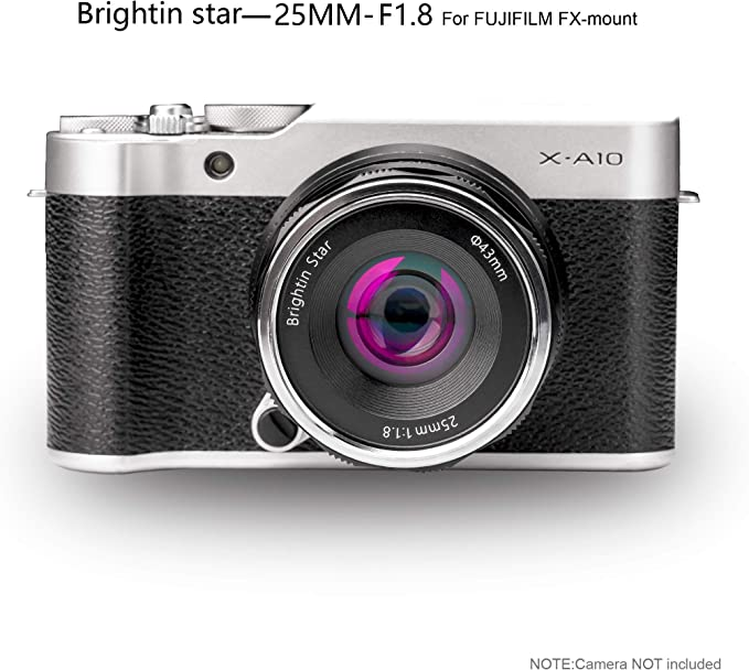 Brightin Star 25mm F1.8 APS-C Classic Fixed Focus Lens for Sony E-Mount Mirrorless Cameras Black