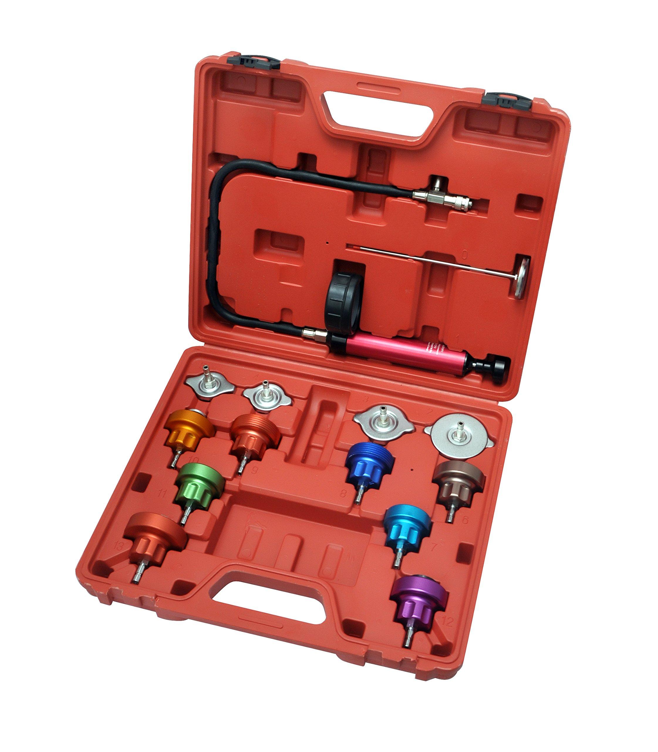 Generic Auto Cooling System Radiator Color Cap Pressure Tester Kit Pump Gauge Adapter HD