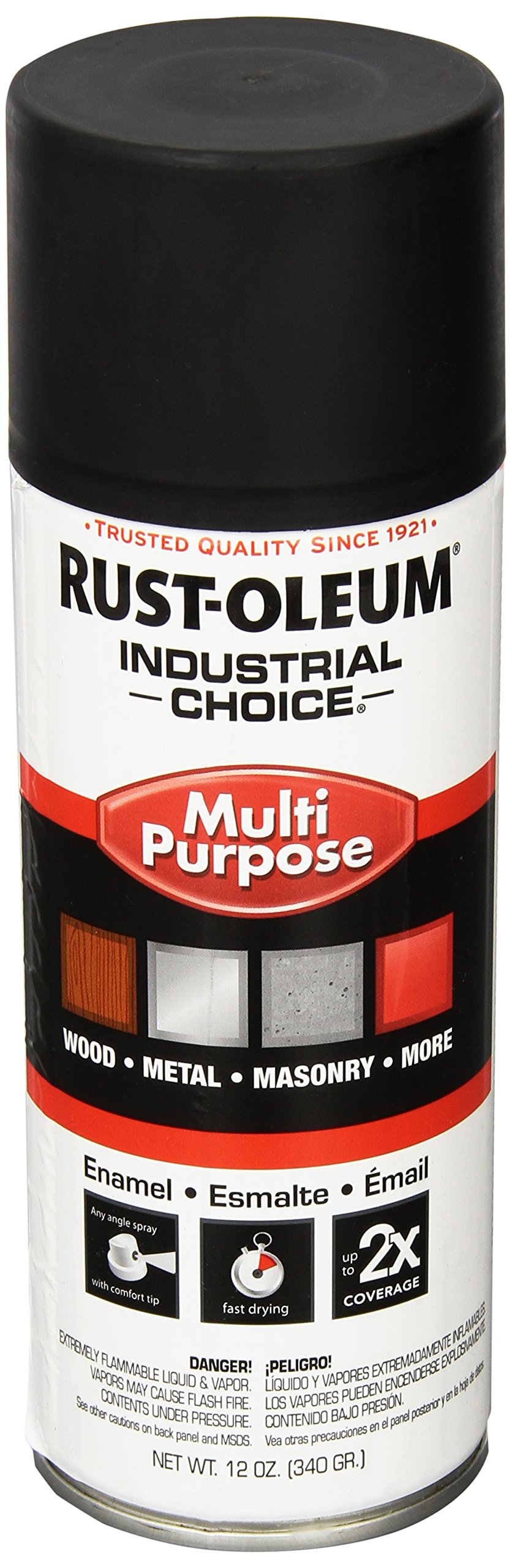 Rust-Oleum 1676830 Ultra-Flat Black 1600 System General Purpose Enamel Spray Paint, 16 fl. oz. container, 12 oz. weight fill, Can (Pack of 6)