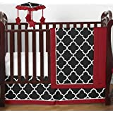 Red, Black and White Trellis Print Gender Neutral Baby Bedding 4 Piece Boy or Girl Crib Set Without Bumper