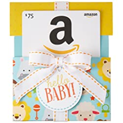 $75 Gift Card in a Hello Baby Reveal (Classic White Card Design) image link