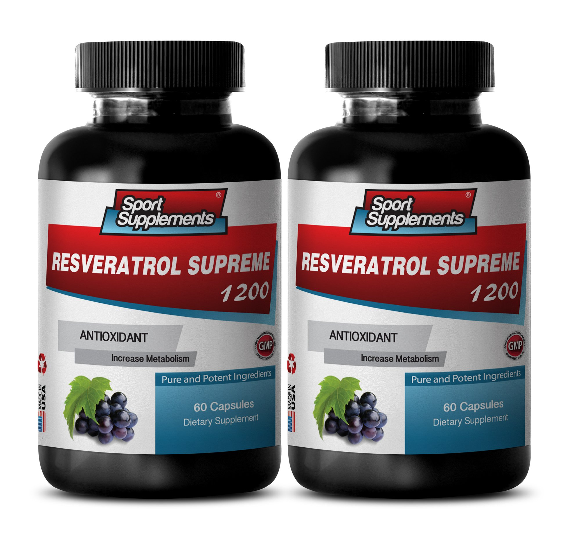 Herbal Supplement - Resveratrol Supreme 1200mg Maximum Strength Plus 1200 Red Wine Supplements(2 Bottles)