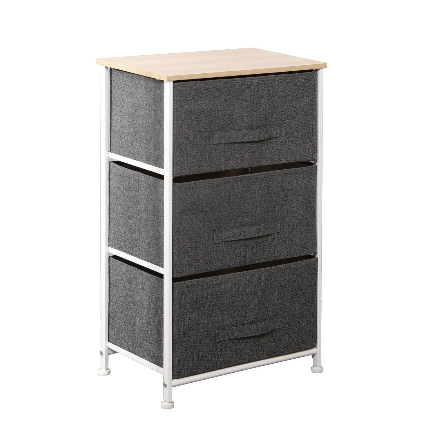 soges 2-Drawer Storage Organizer Unit for Bedroom, Living Room, Night Stand, Small Storage Drawer Units, Metal Frame with Fabric Bin, Beige 100N-BM PRC