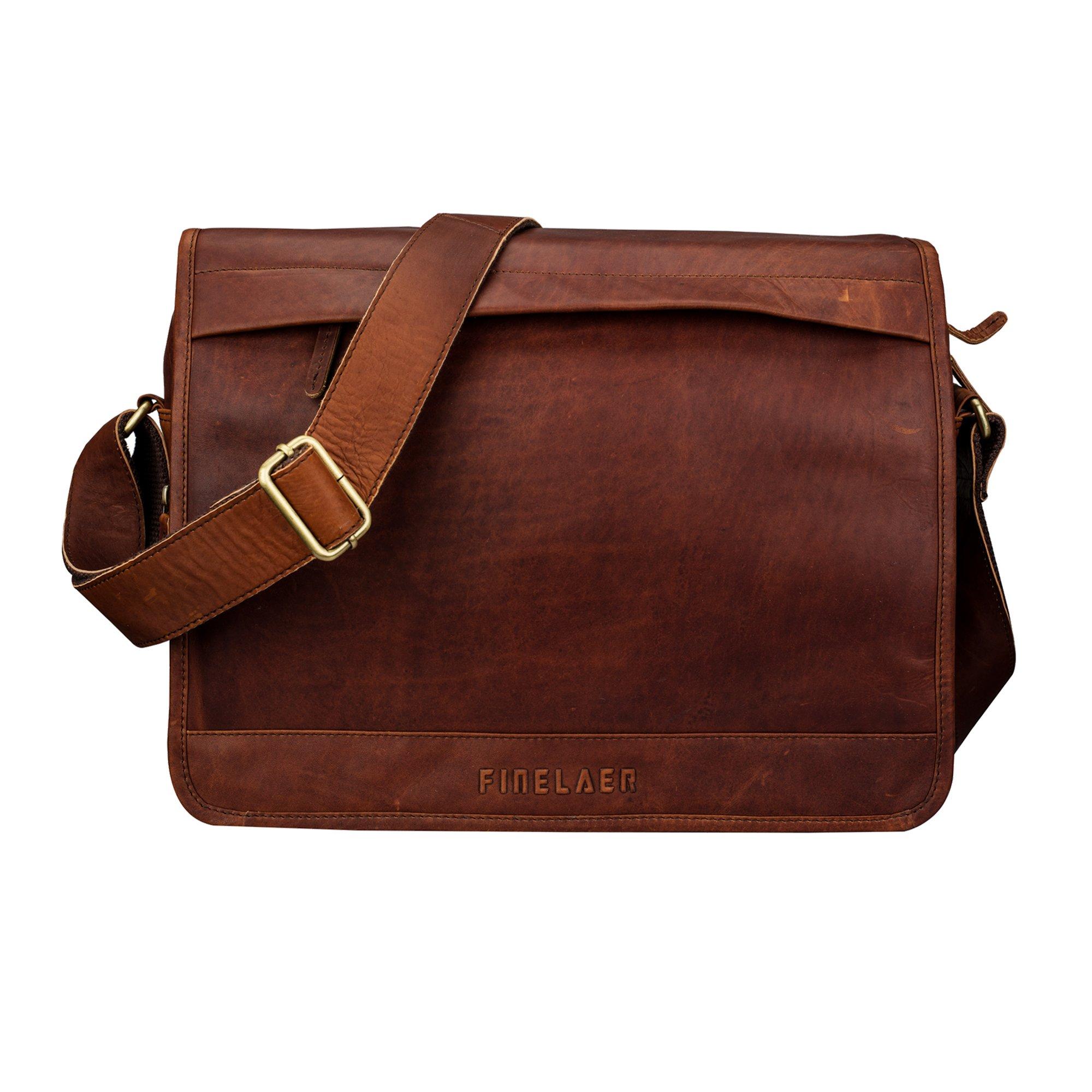 Finelaer Genuine 13'' Leather Laptop Messenger Shoulder Office Work Bag Brown for Men and Women